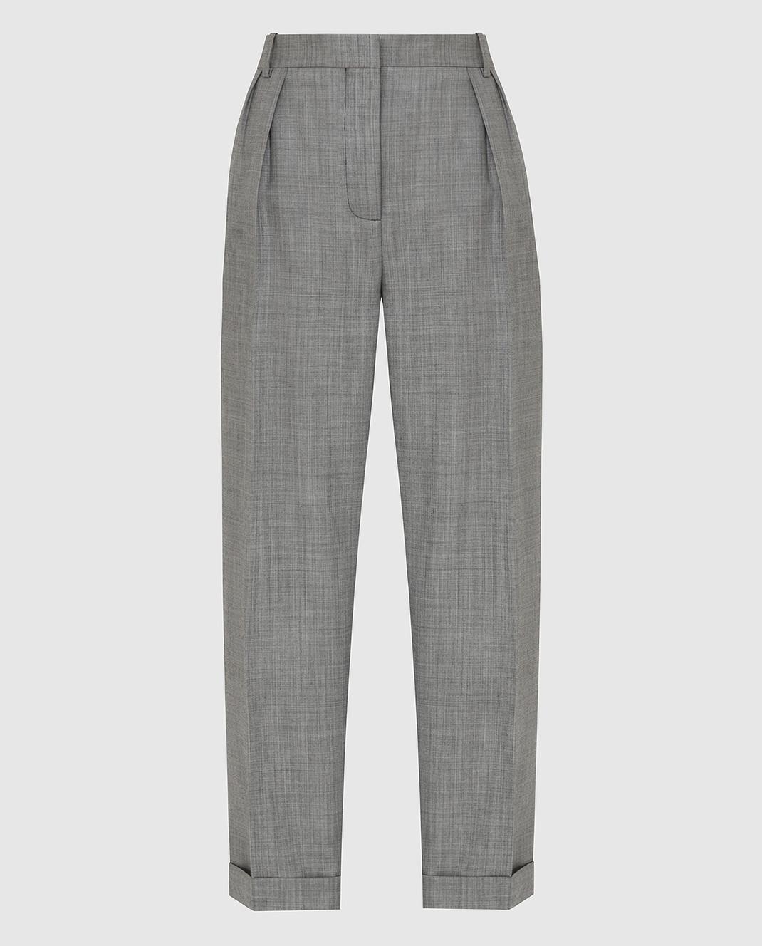 Victoria Beckham Серые брюки из шерсти TRTPR2600B