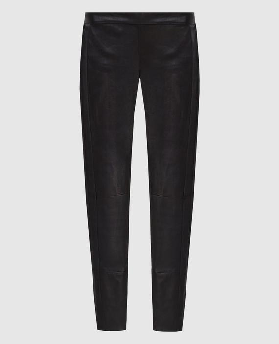 Черные брюки из кожи ягненка