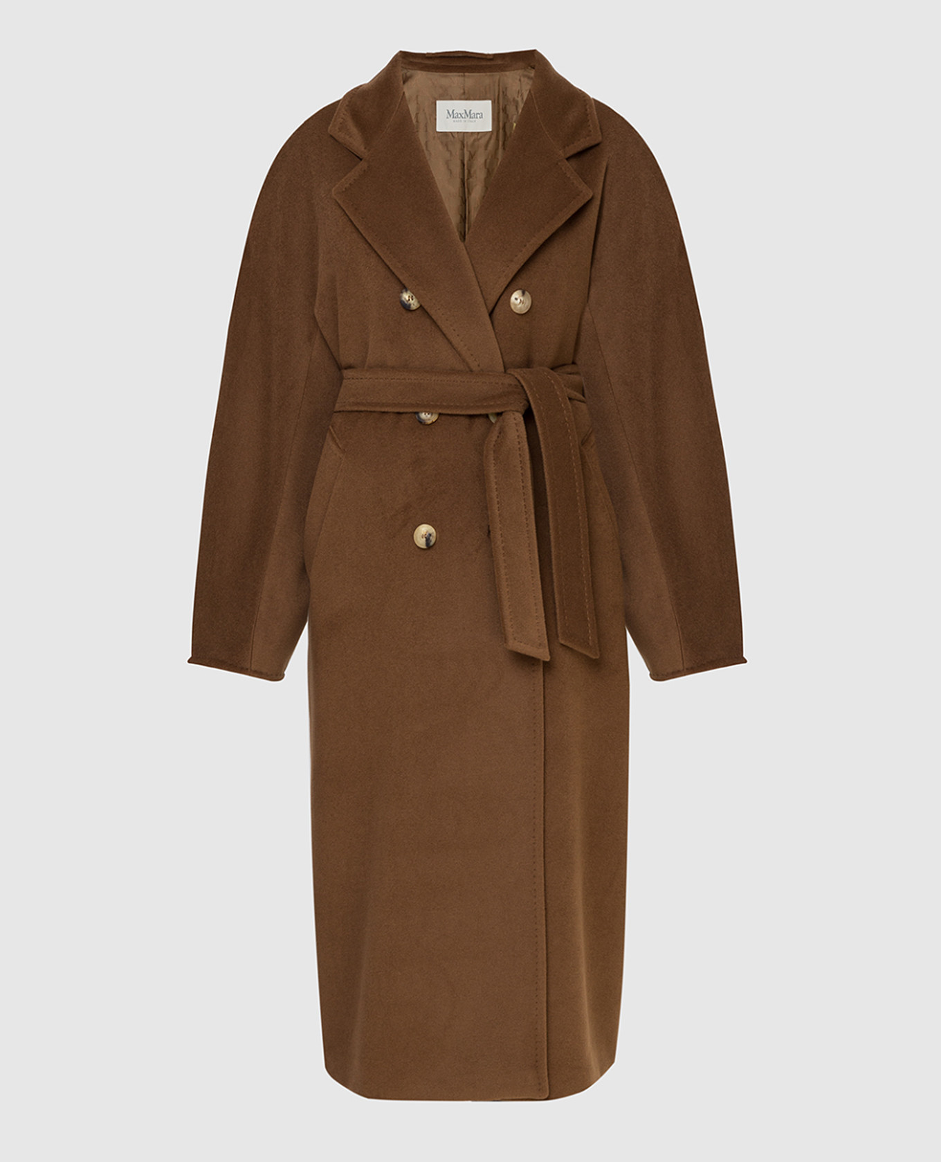 Темно-бежевое пальто из шерсти и кашемира