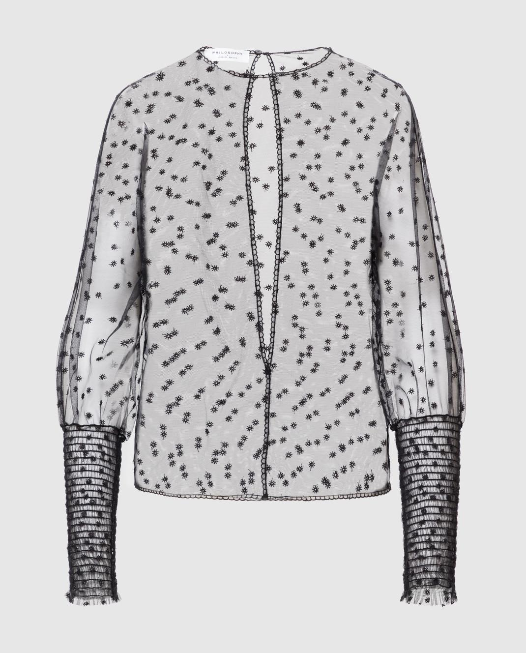 Philosophy di Lorenzo Serafini Черная блуза с вырезом на спине изображение 1