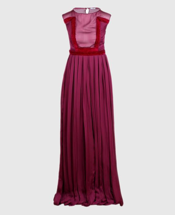 Бордовое платье из шелка
