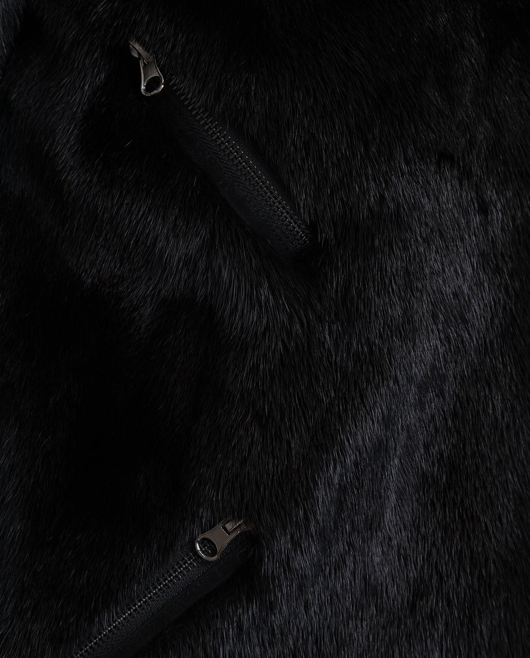 Simonetta Ravizza Черная шуба из меха норки BIKERRLMTH3 изображение 5