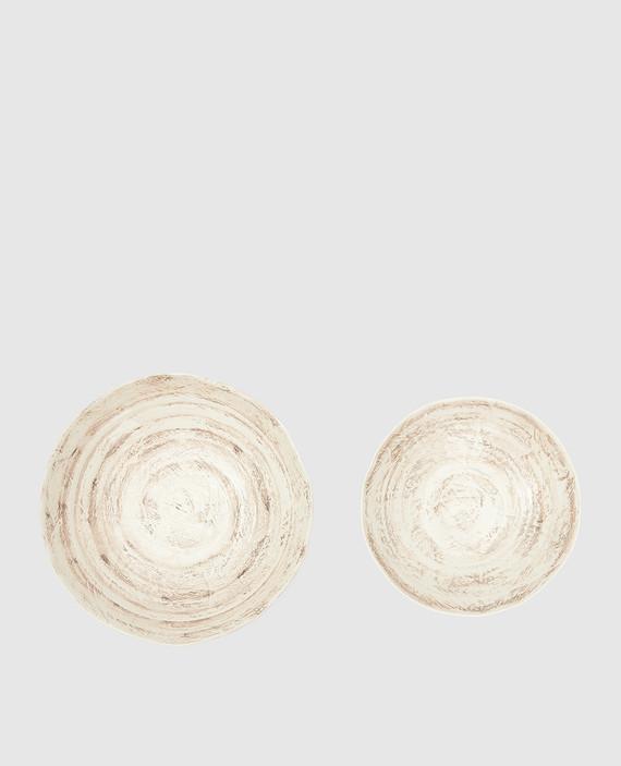 Набор из бежевых тарелок ручной работы