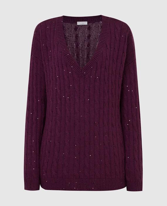 Бордовый пуловер из кашемира и шелка