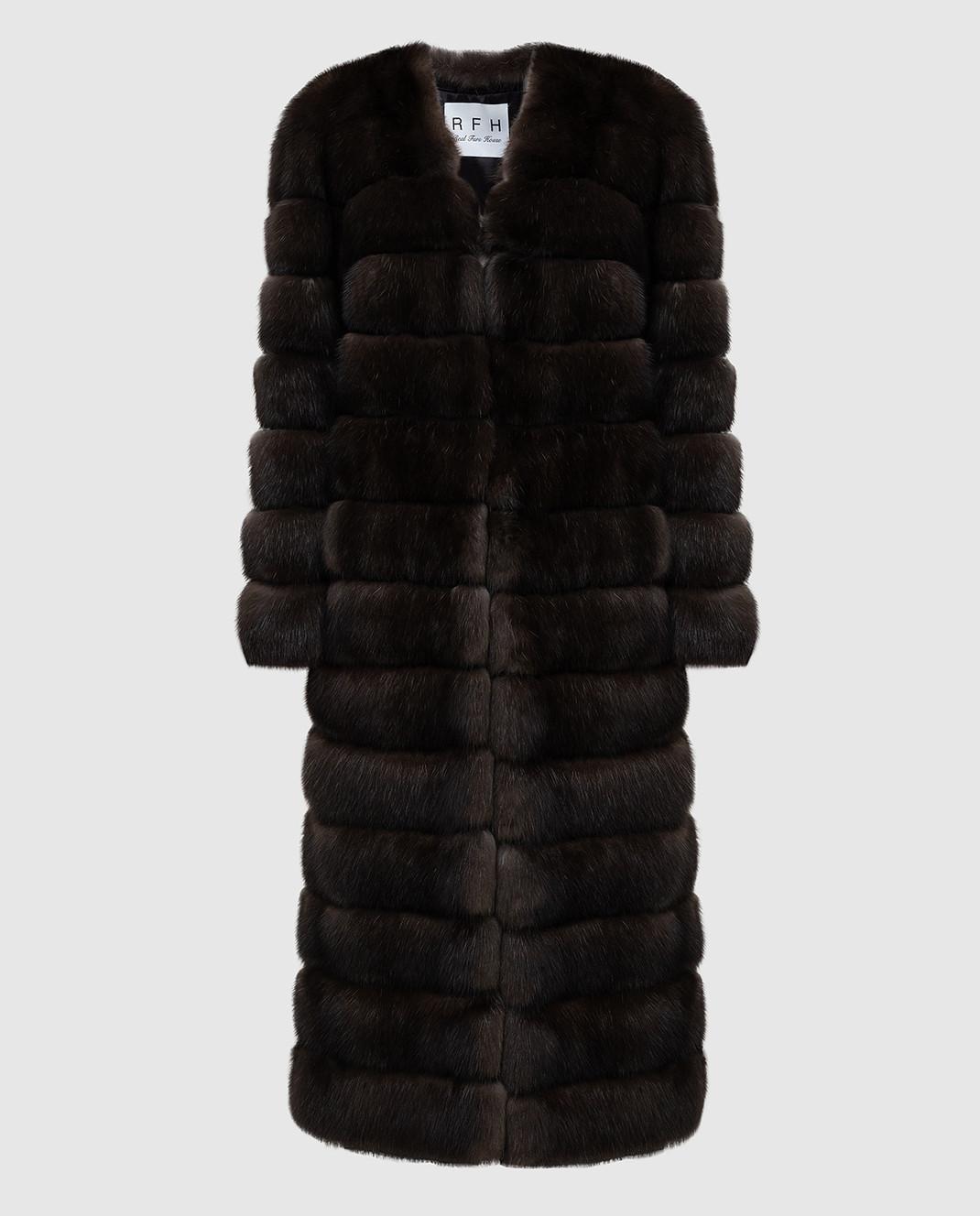 Real Furs House Темно-коричневая шуба из соболя SBR596DARKSILV1