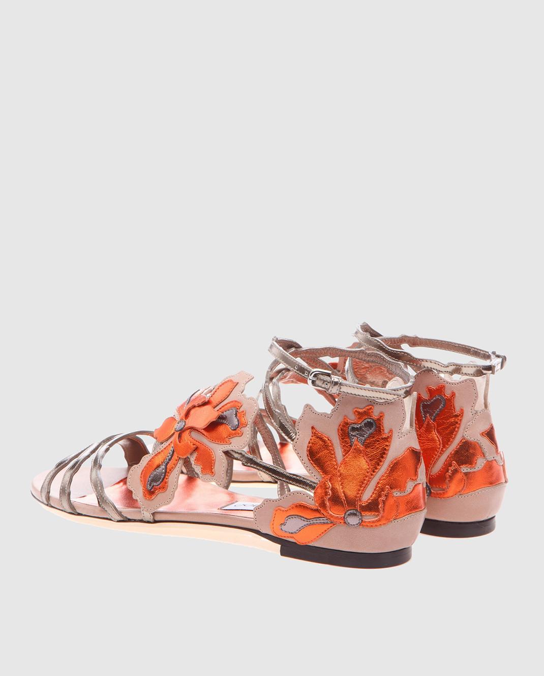 Jimmy Choo Золотистые кожаные сандалии Lolita LOLITAFLATMIV изображение 4