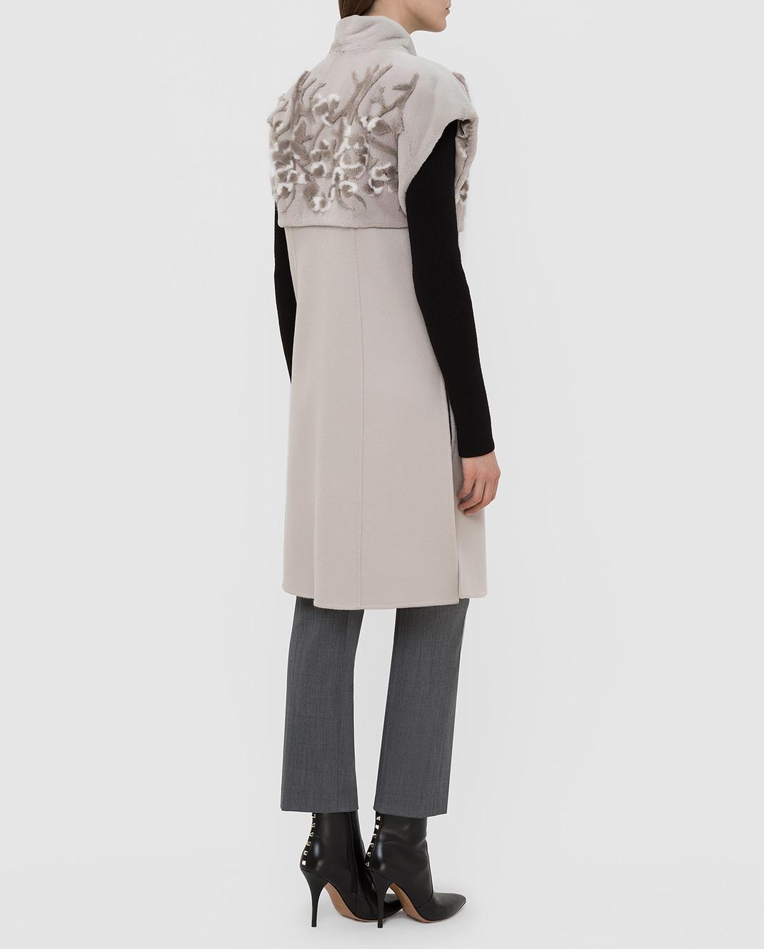Rindi Светло-серый жилет из кашемира с мехом норки изображение 4