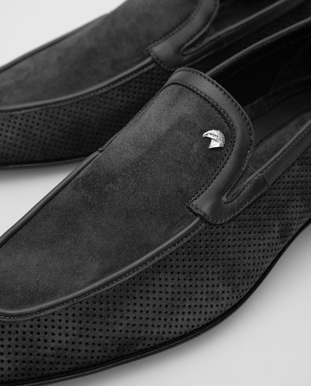 Stefano Ricci Темно-серые замшевые лоферы UF312C2050 изображение 5