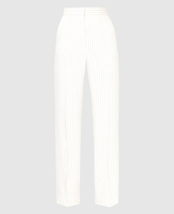 Светло-бежевые брюки из льна и шелка