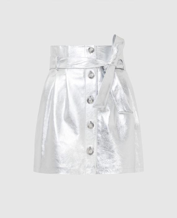 Серебристая кожаная юбка