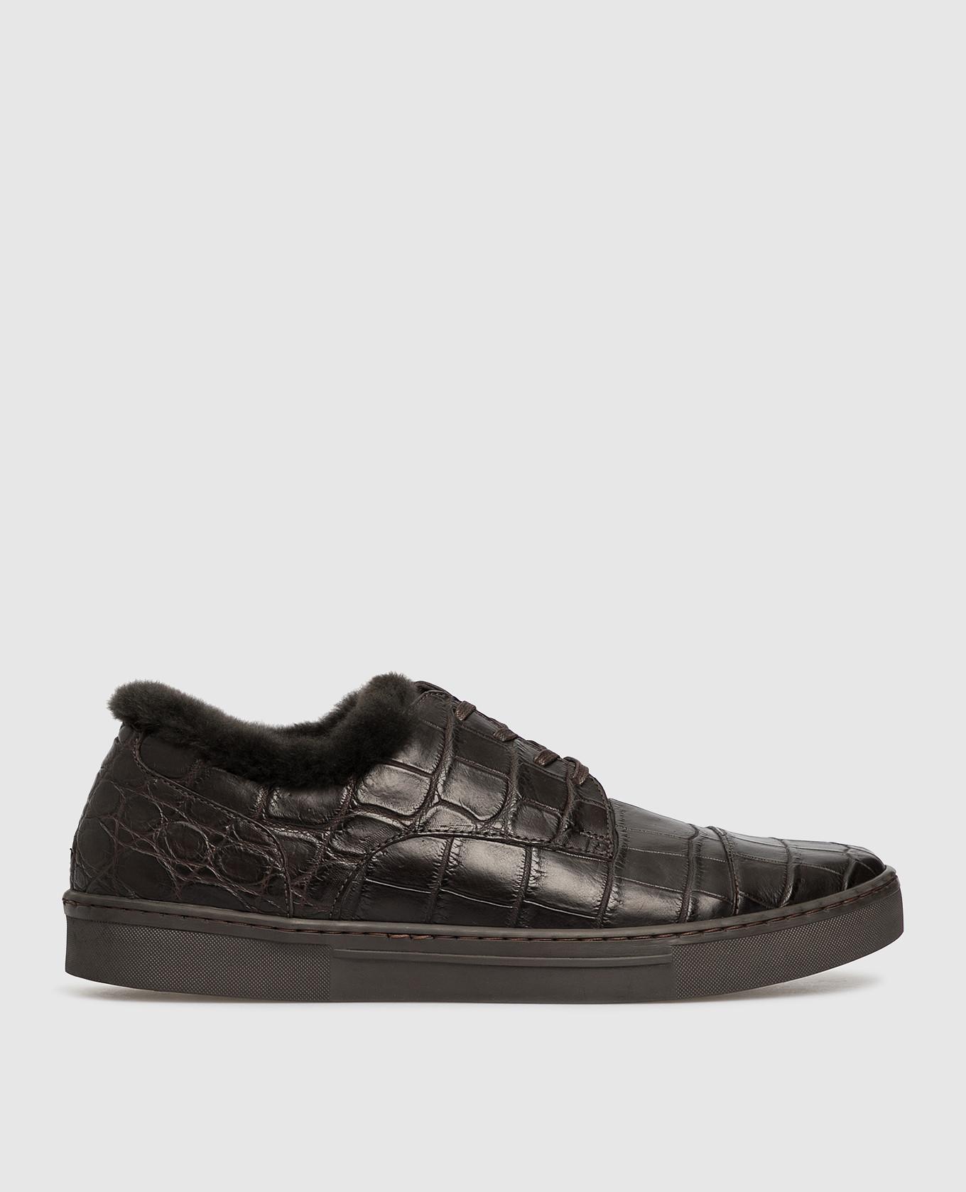 Темно-коричневые ботинки из кожи крокодила на меху