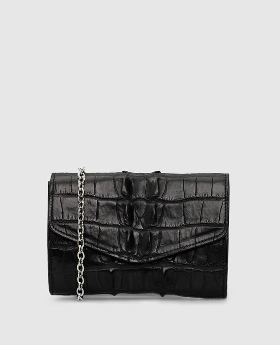 Черная сумка из кожи крокодила