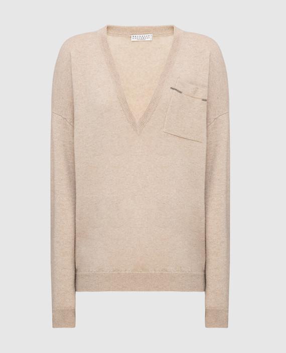Бежевый пуловер из кашемира