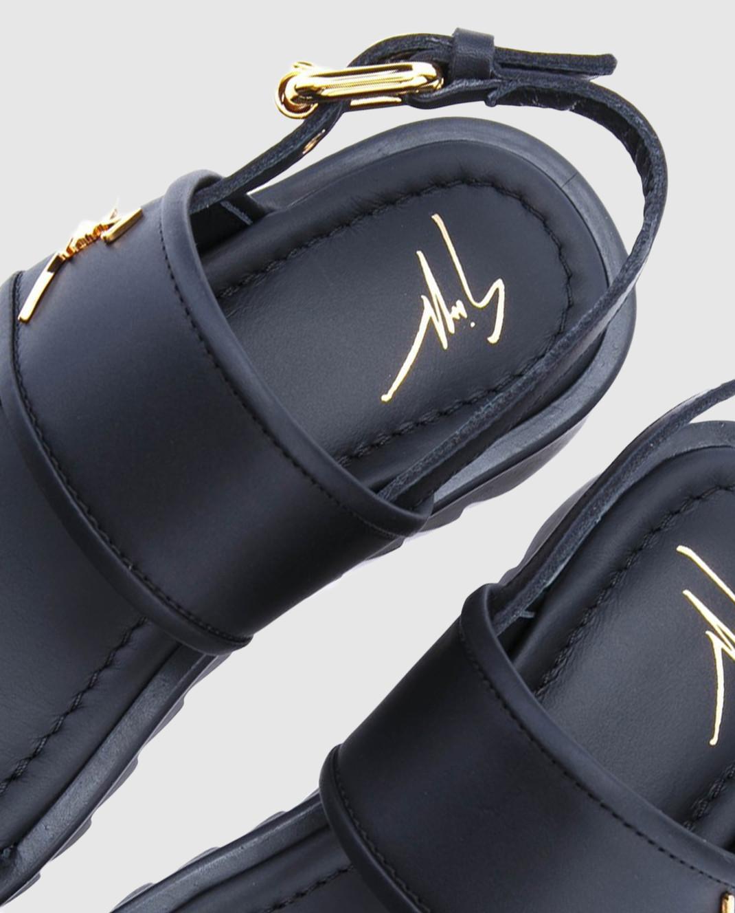 Giuseppe Zanotti Детские черные кожаные сандалии SBE8409001 изображение 4