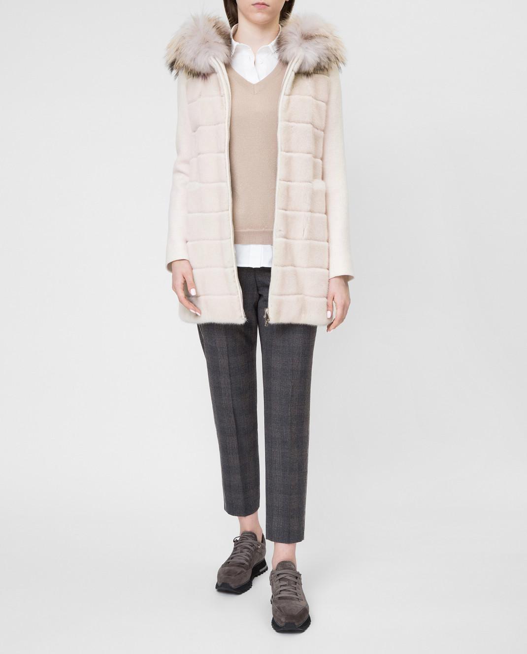 Real Furs House Светло-бежевое пальто с мехом енота 922RFH изображение 2