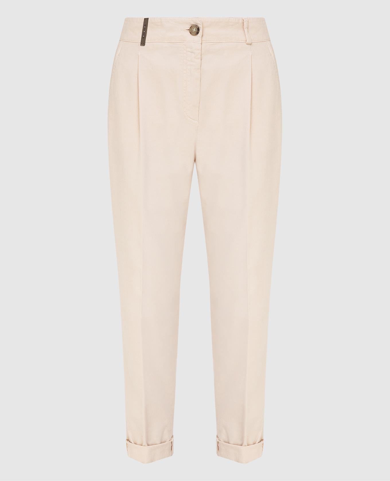 Светло-бежевые брюки Peserico, Светло-бежевый, Укороченные брюки