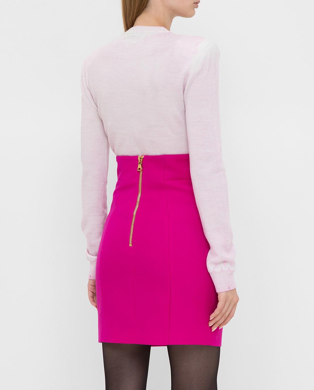 Balmain Светло-розовый свитер из шерсти изображение 4