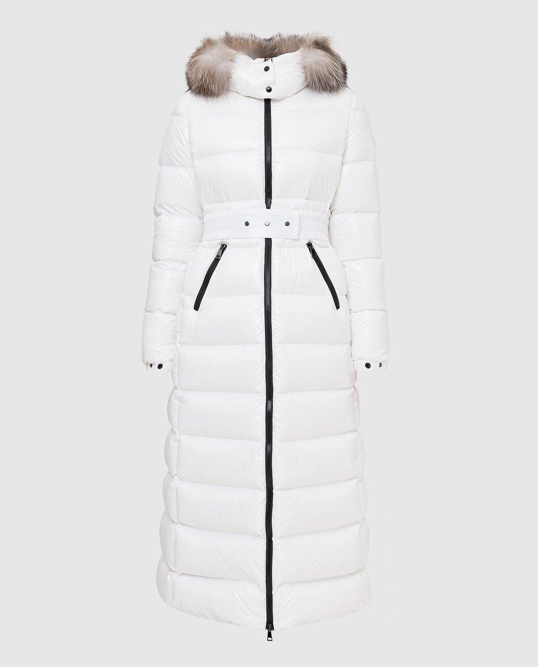 Moncler Белый пуховик с мехом лисы 4984525C0065