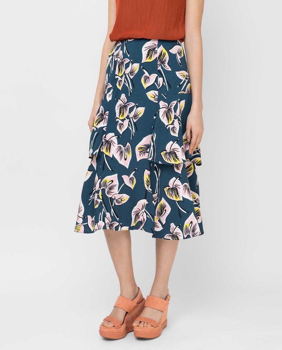 Marni Темно-бирюзовая юбка GOMAT39U00TV456 изображение 3