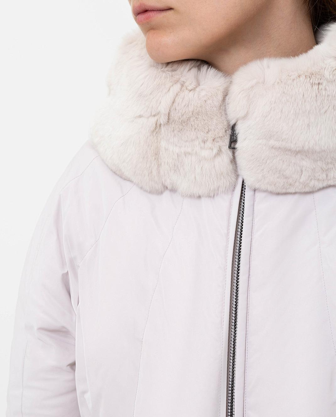 Florence Mode Светло-серый пуховик с мехом кролика изображение 5