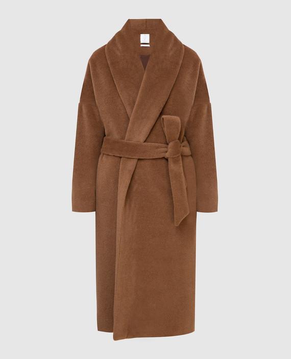 Коричневое пальто из альпаки и шерсти