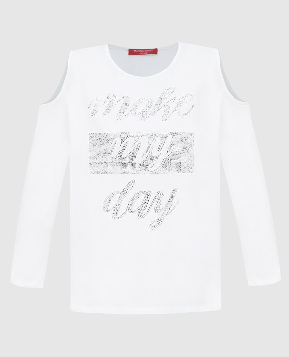 Белая футболка c длинным рукавом