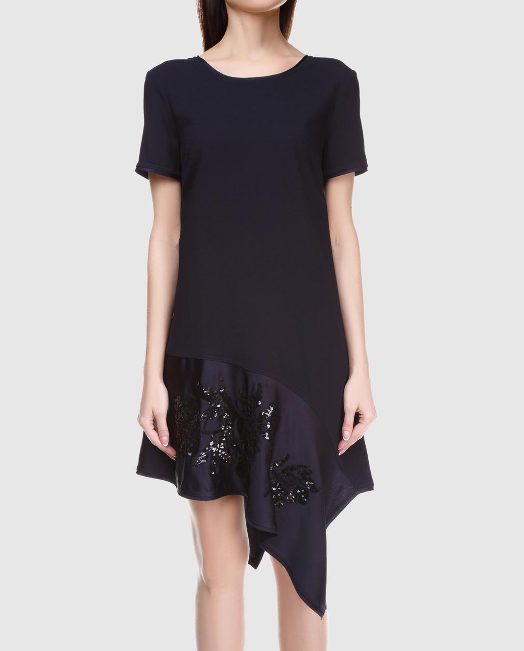 PAROSH Темно-синее платье с вышивкой пайетками D730224R изображение 3