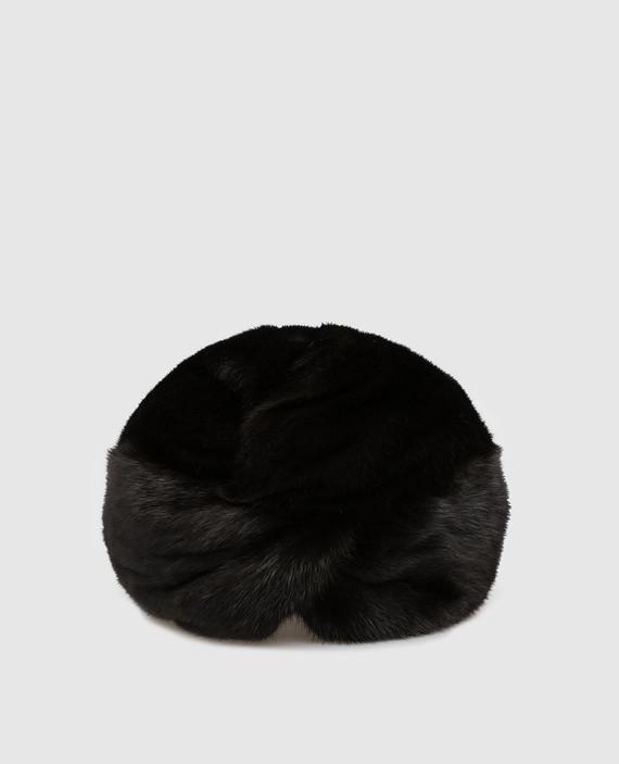 Черный тюрбан из меха норки