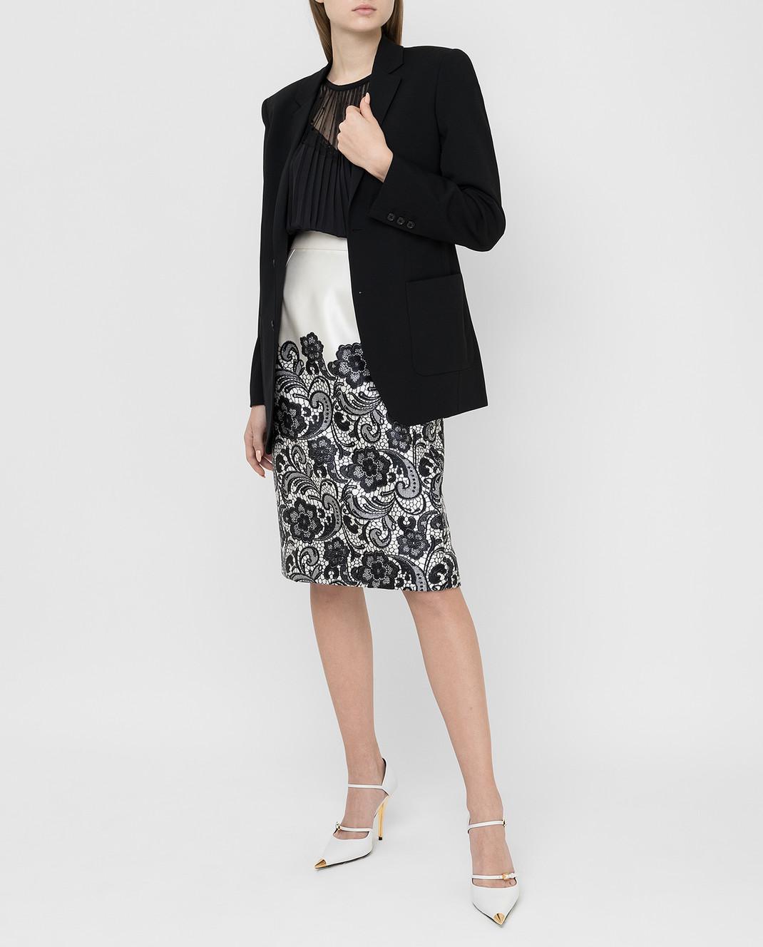 Dolce&Gabbana Светло-бежевая юбка из шелка F4T32TFS1YX изображение 2