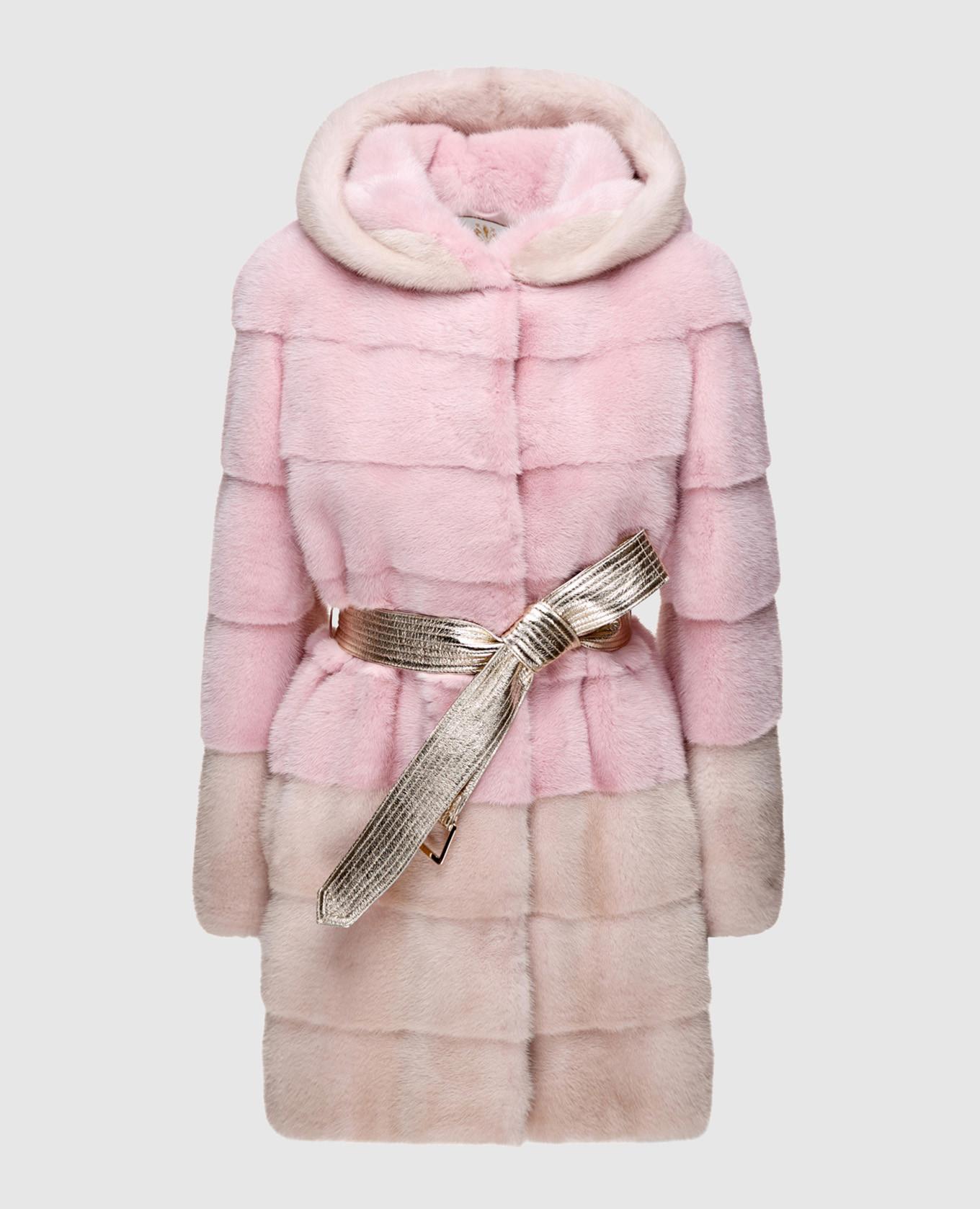 Розовая шуба из меха норки с поясом