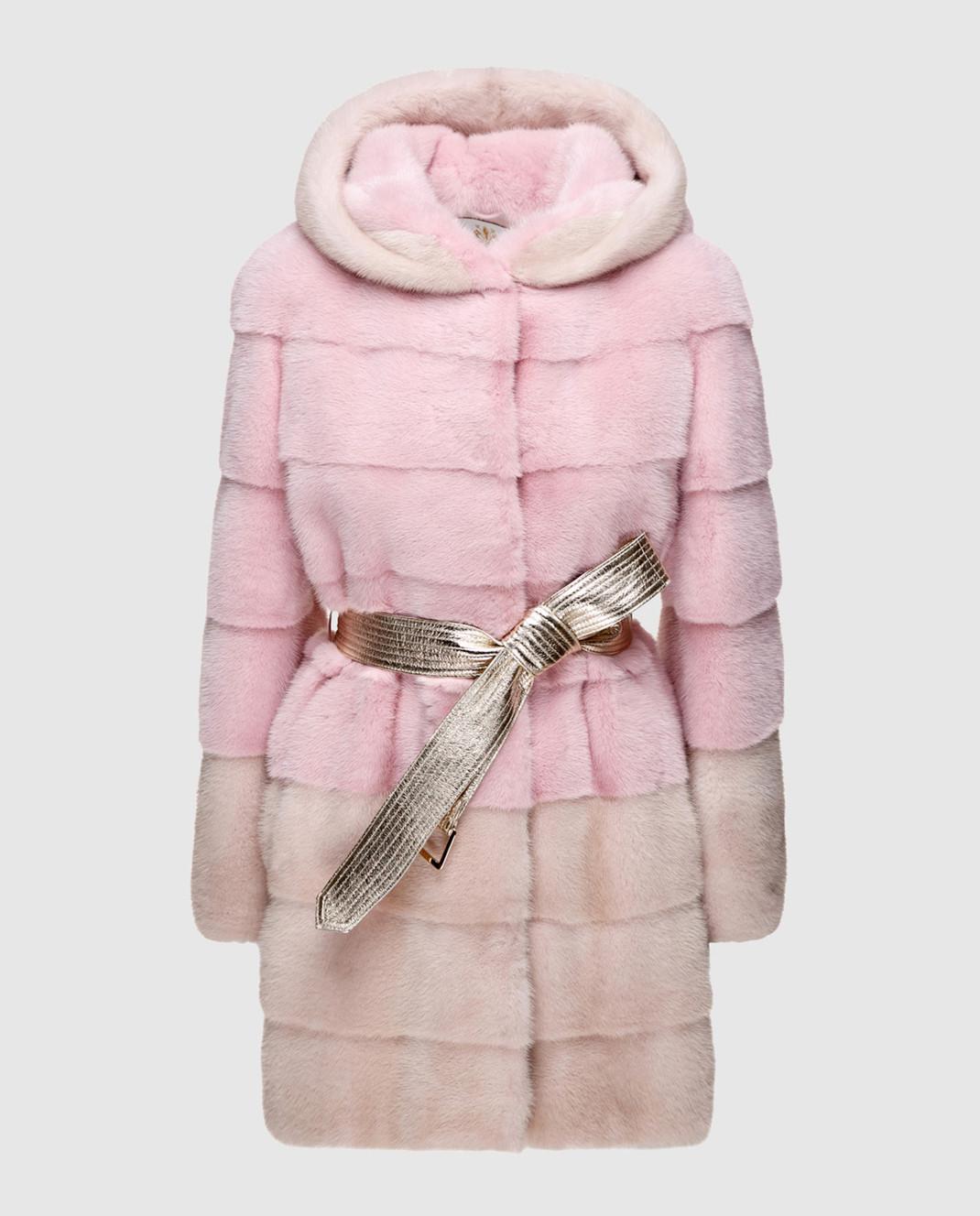 Florence Mode Розовая шуба из меха норки с поясом L1827WHITE