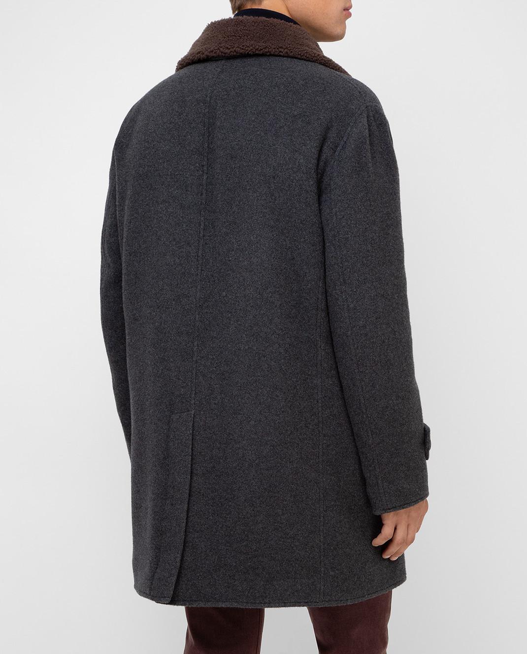 Brunello Cucinelli Серое пальто из кашемира MT4976307 изображение 4