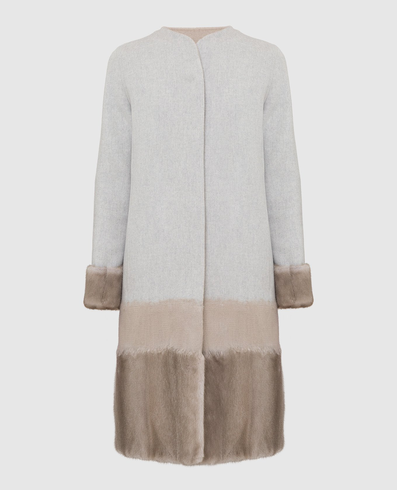 Серое пальто из шерсти и кашемира с мехом норки