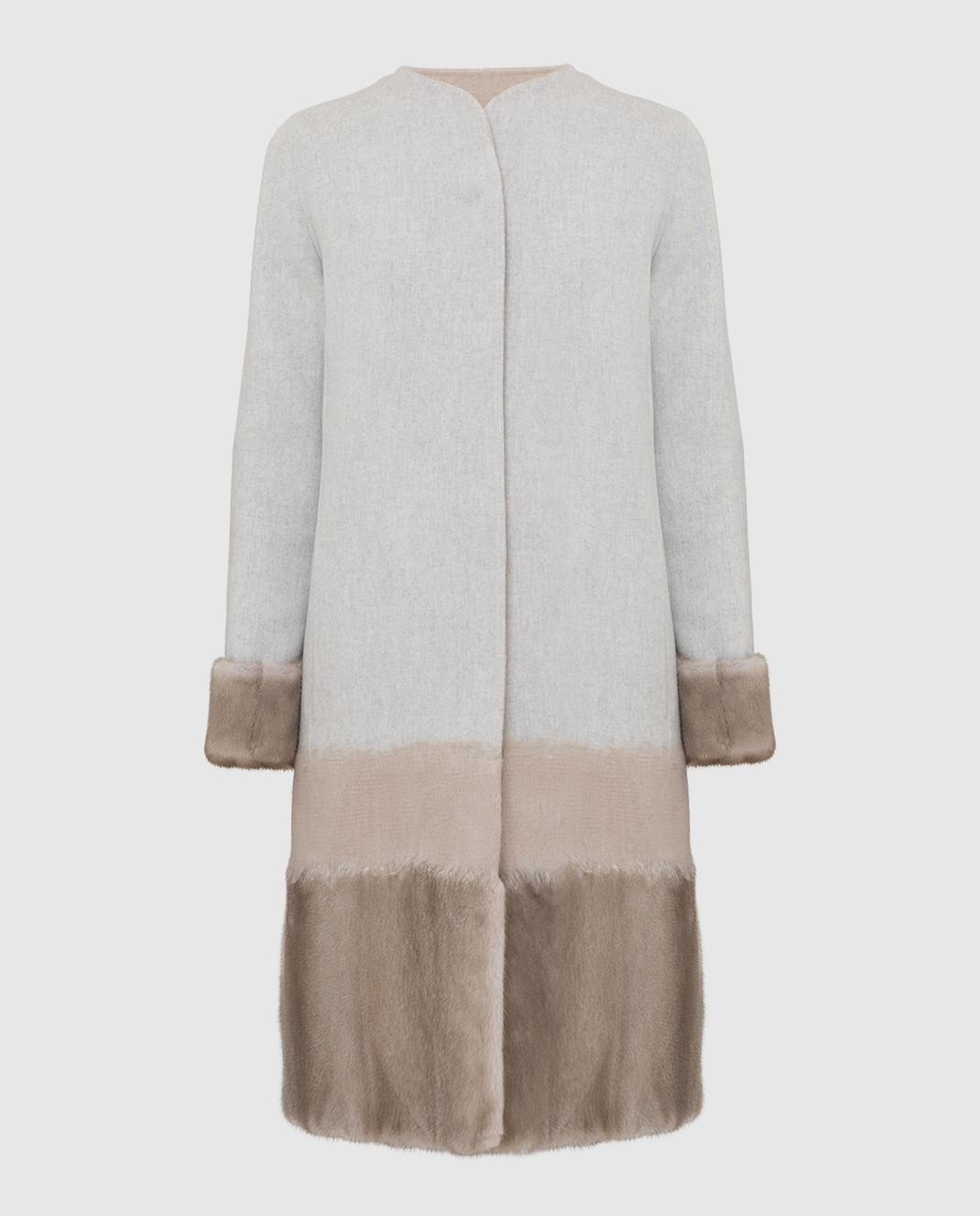 Rindi Серое пальто из шерсти и кашемира с мехом норки 295TE0R6