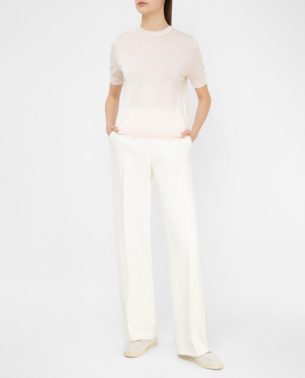 Loro Piana Светло-бежевые брюки из шелка и шерсти F1FAI5226 изображение 2