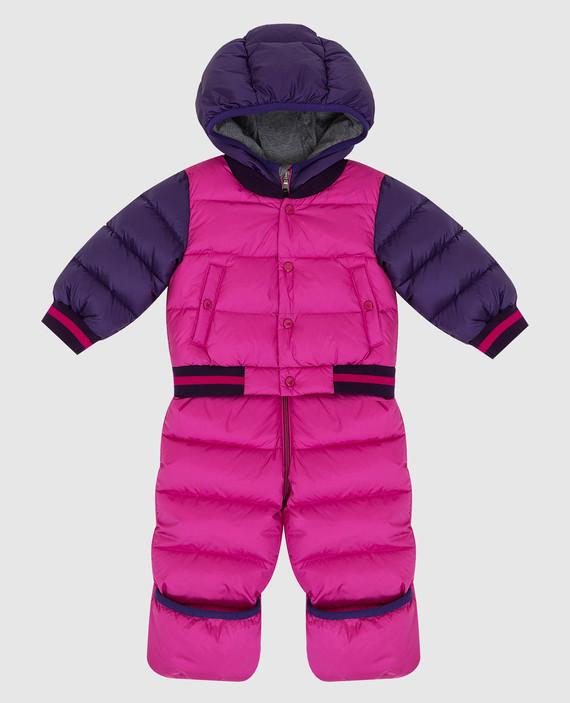 Детский розовый пуховой комбинезон