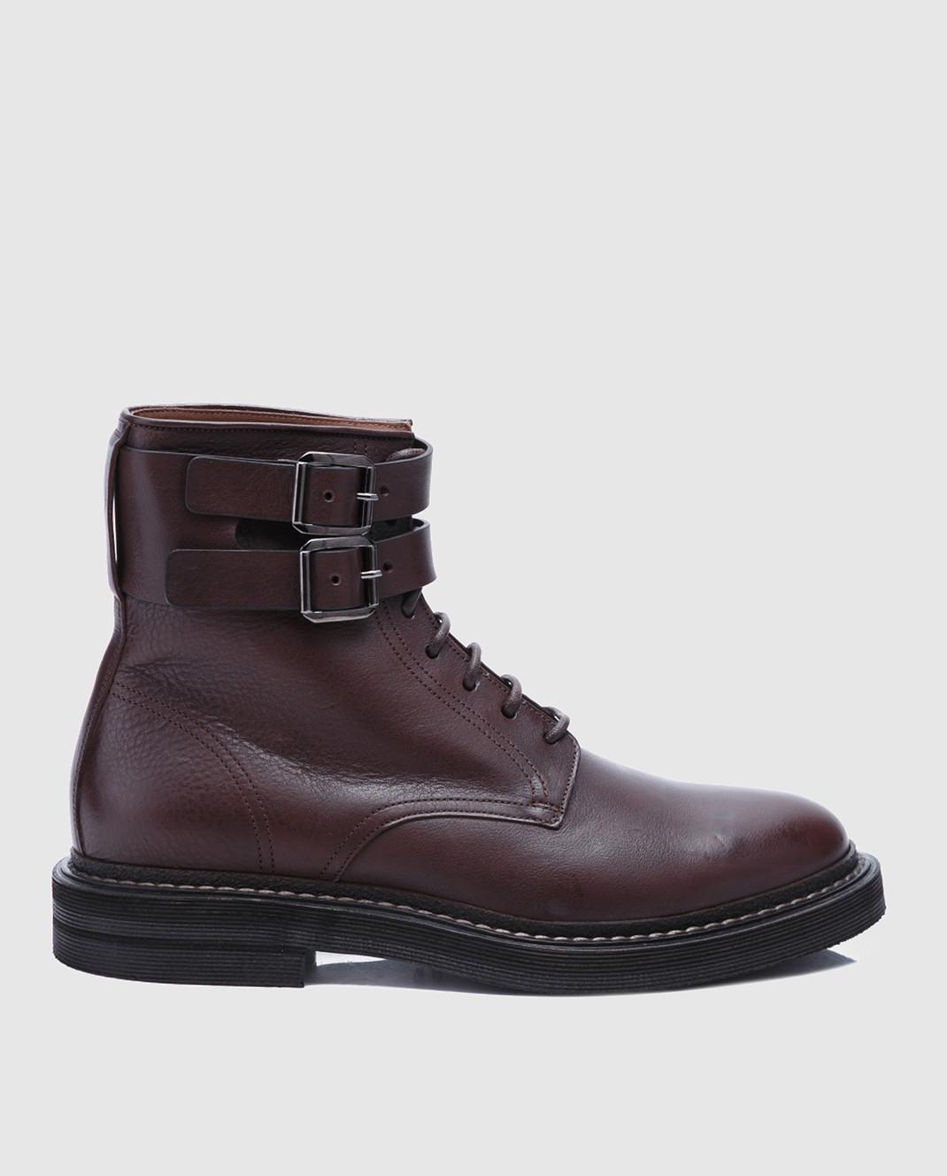 Brunello Cucinelli Темно-коричневые кожаные ботинки MZUSPFU174