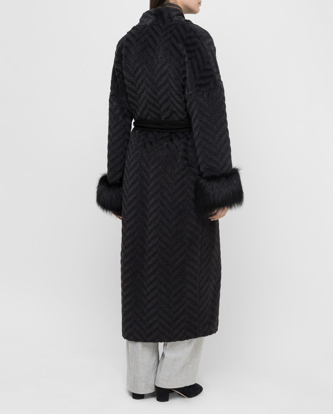 Rindi Черное пальто из альпаки и шерсти с мехом лисы 267TE017 изображение 4