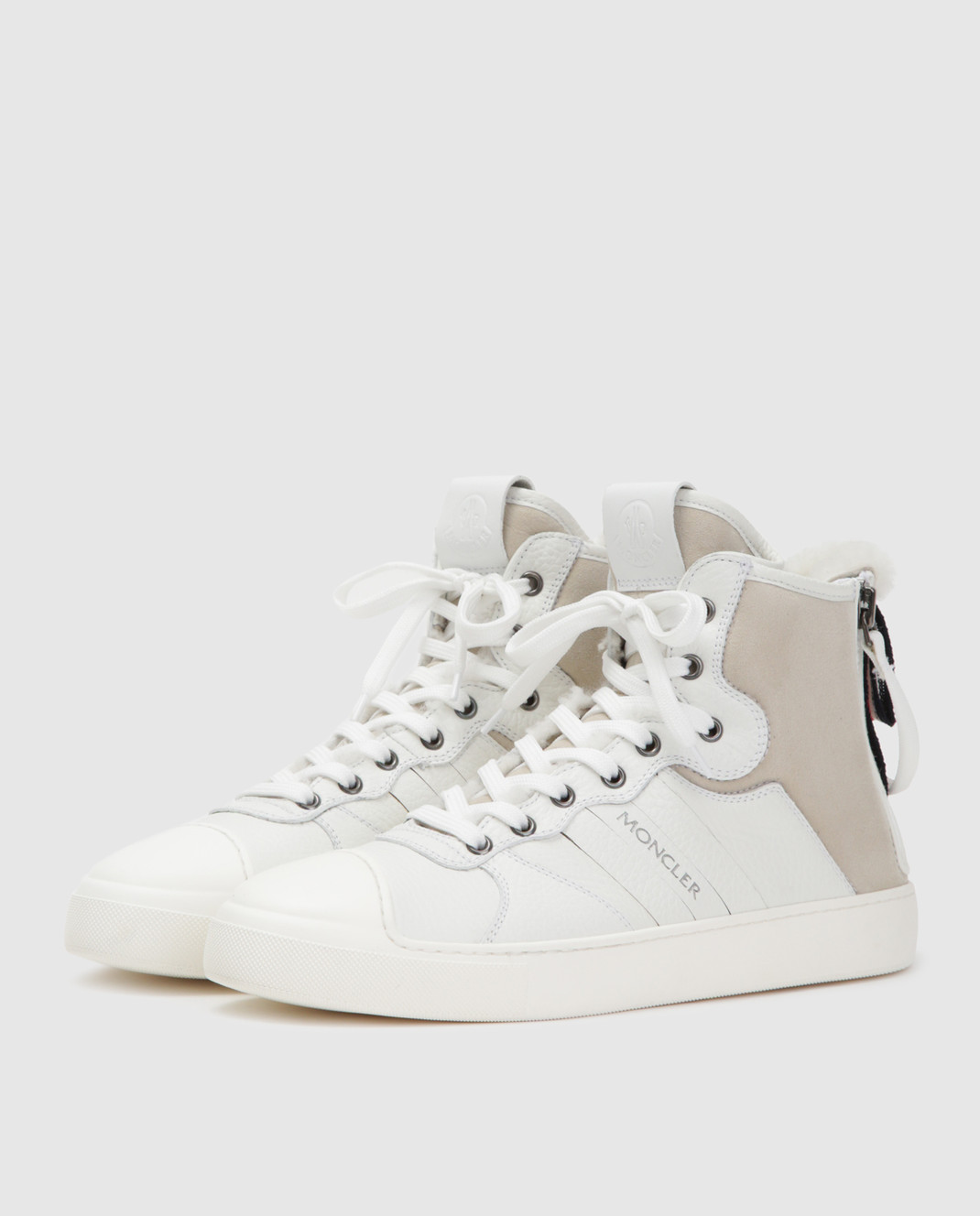 Moncler Белые кожаные хайтопы 20496 изображение 3