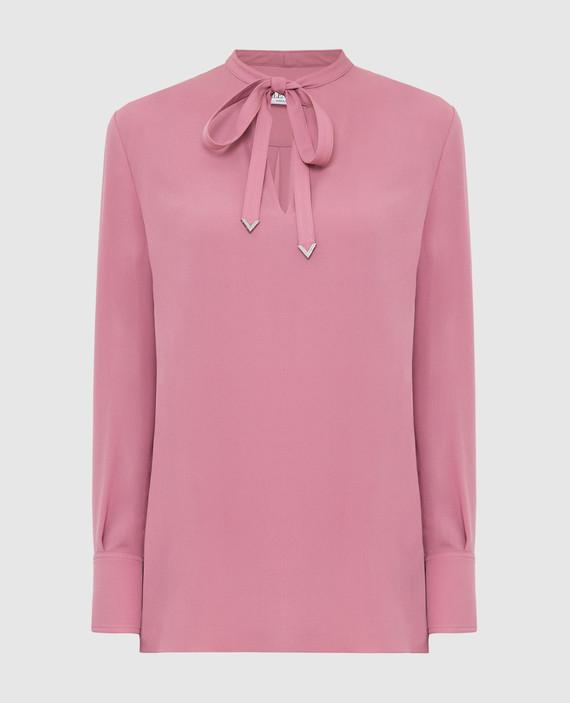 Розовая блуза из шелка