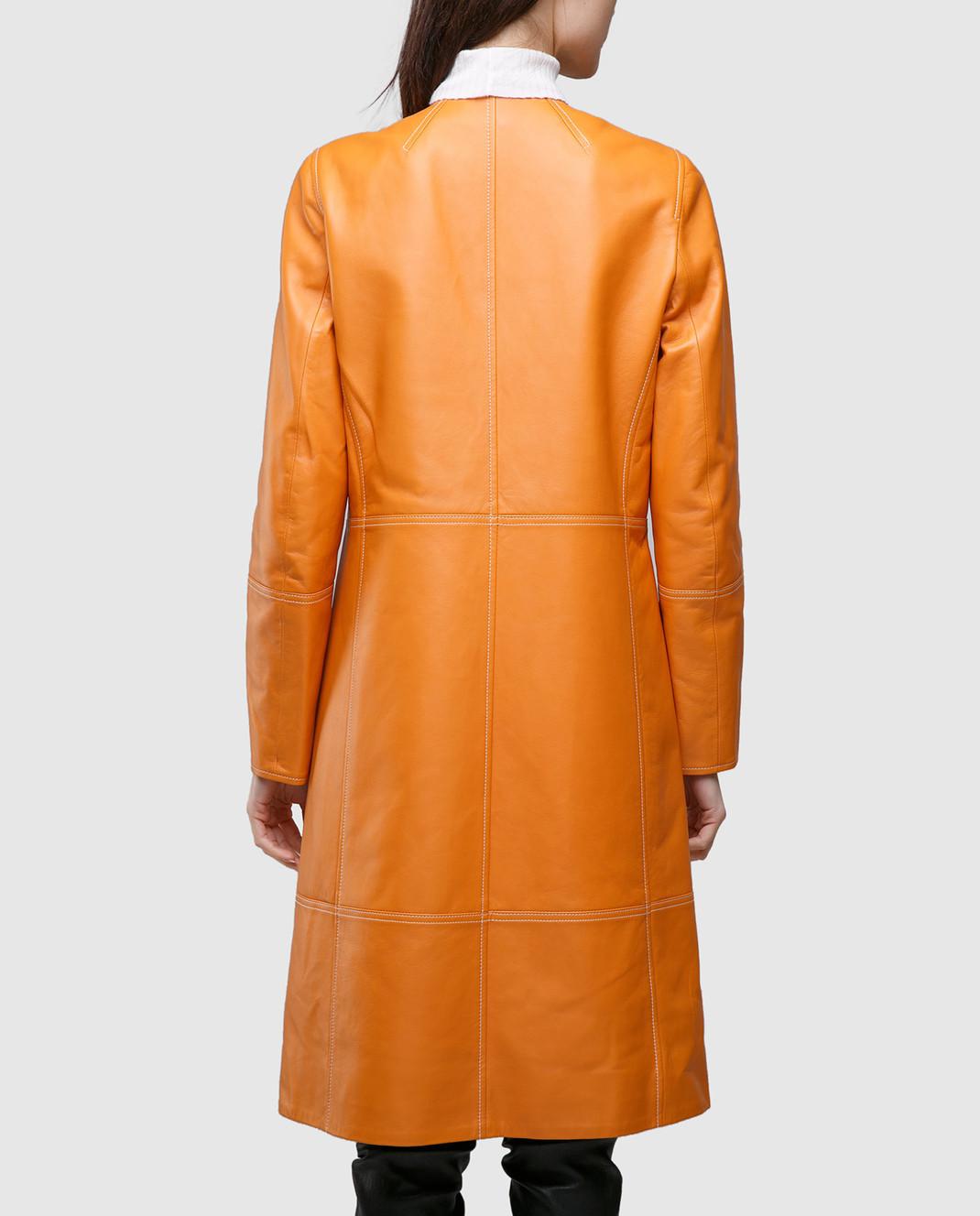 Yves Salomon Оранжевый плащ из кожи ягненка 7EYM20401APXX изображение 4