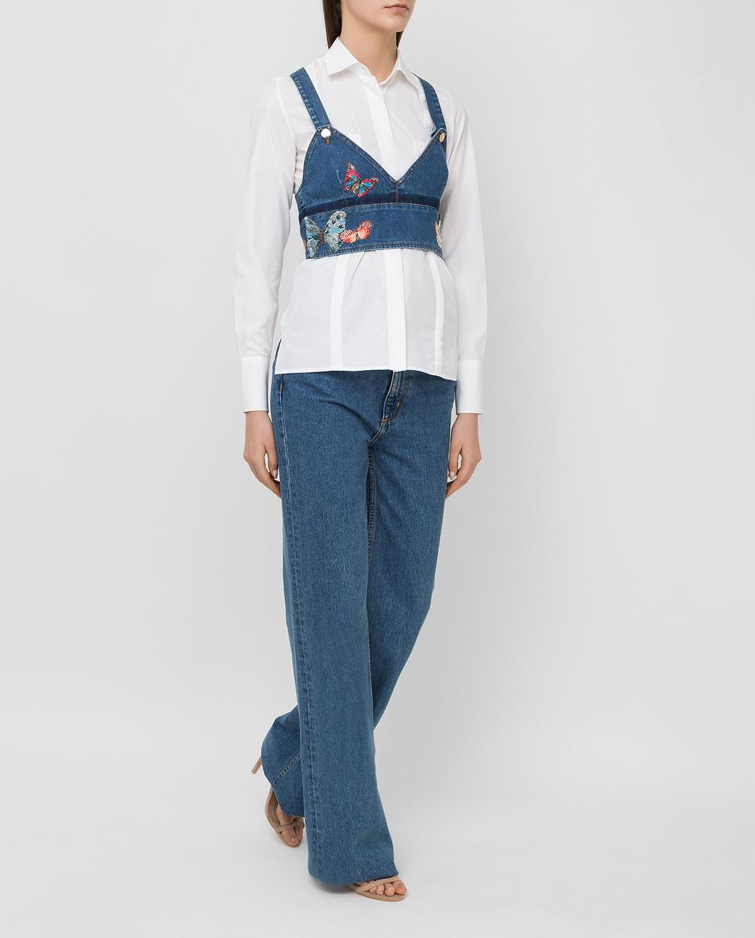 Valentino Синий джинсовый топ KB3DB00C1YF изображение 2