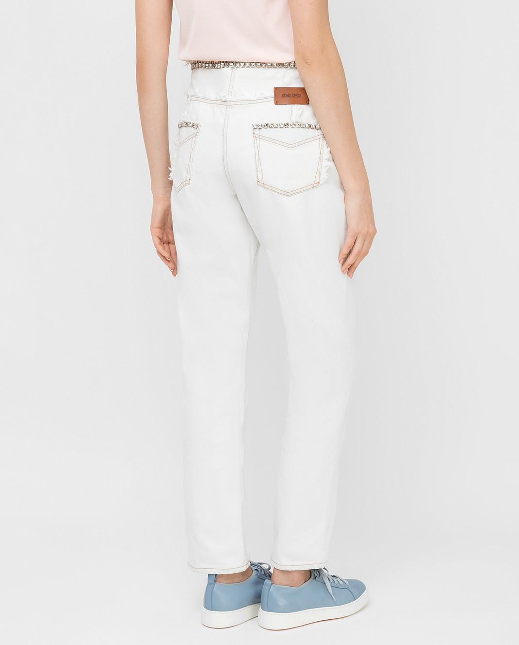 Roberto Cavalli Белые джинсы с кристаллами CKJ211 изображение 4