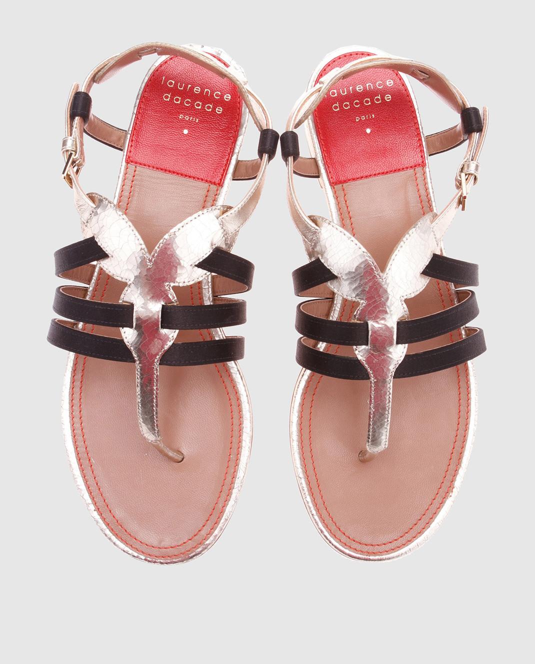 Laurence Dacade Золотистые кожаные сандалии Renin RENINCRACKED изображение 4