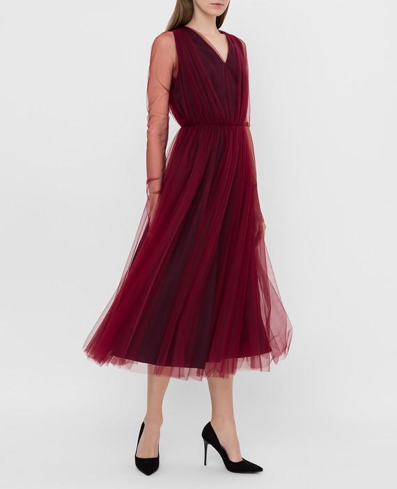 Бордовое платье hover