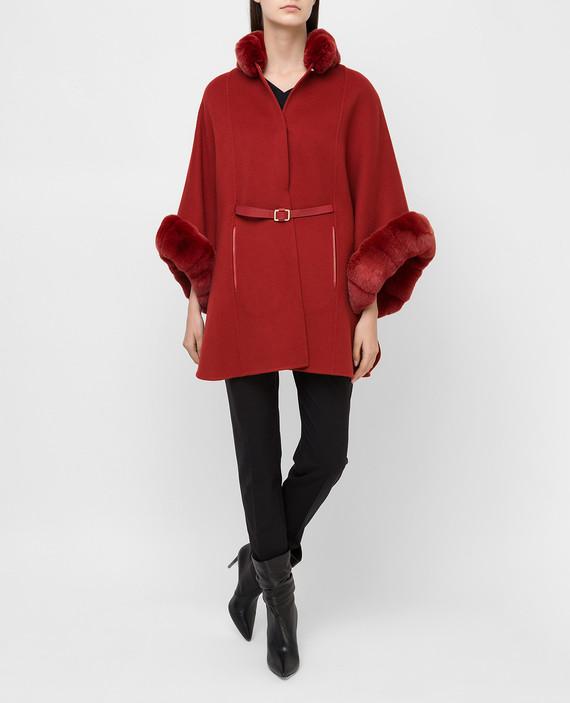 Красное пальто из кашемира с мехом шиншиллы hover