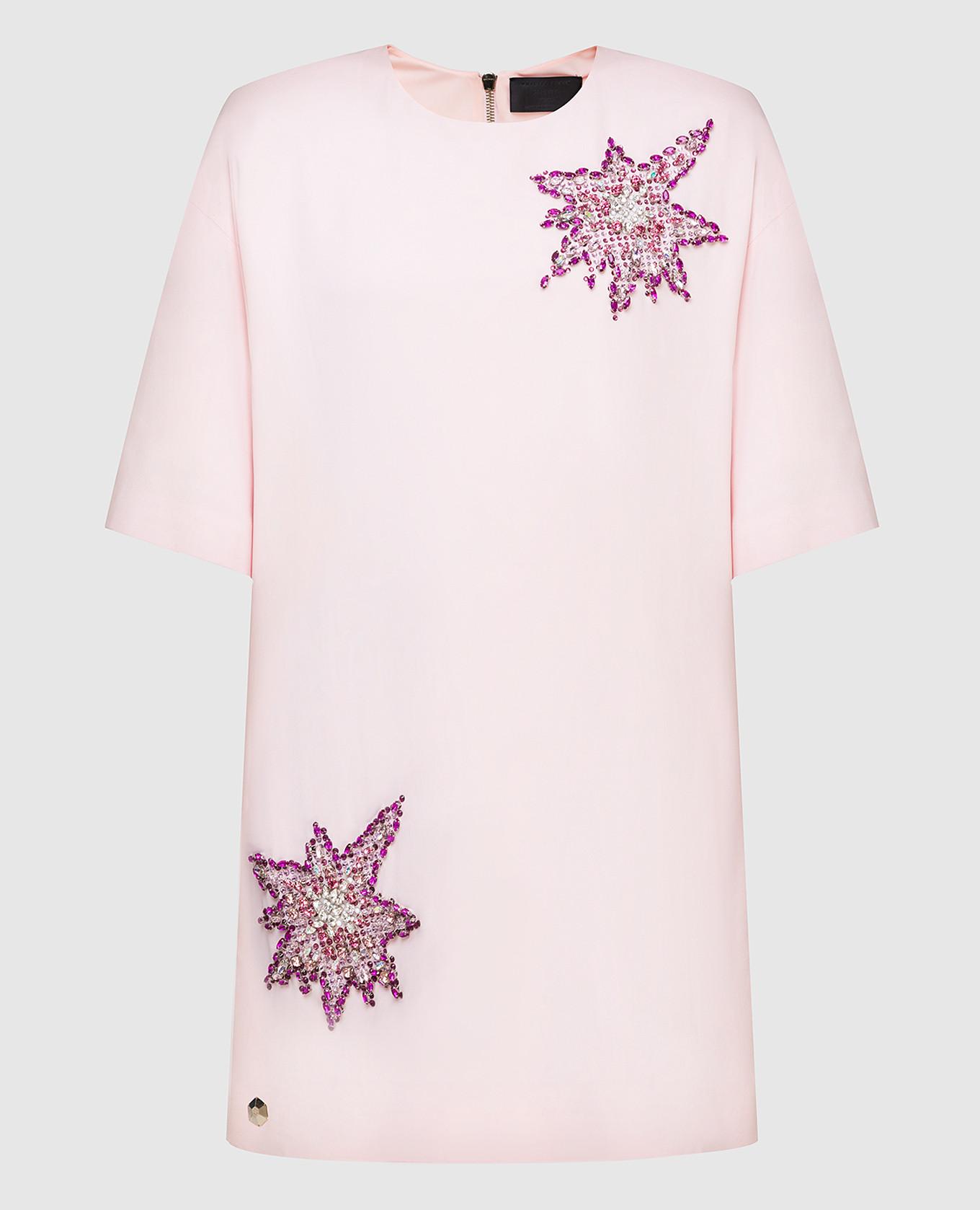 Розовое платье с кристаллами