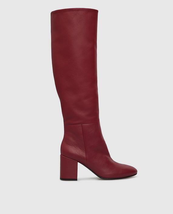 Бордовые кожаные сапоги