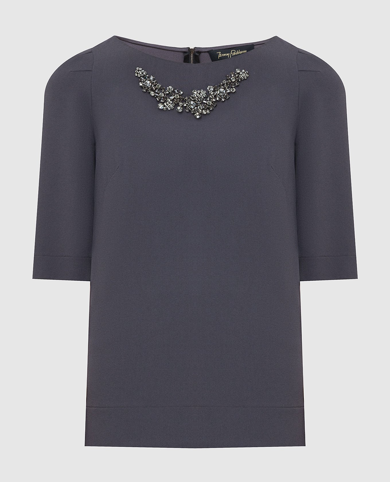 Темно-серая блуза с кристаллами
