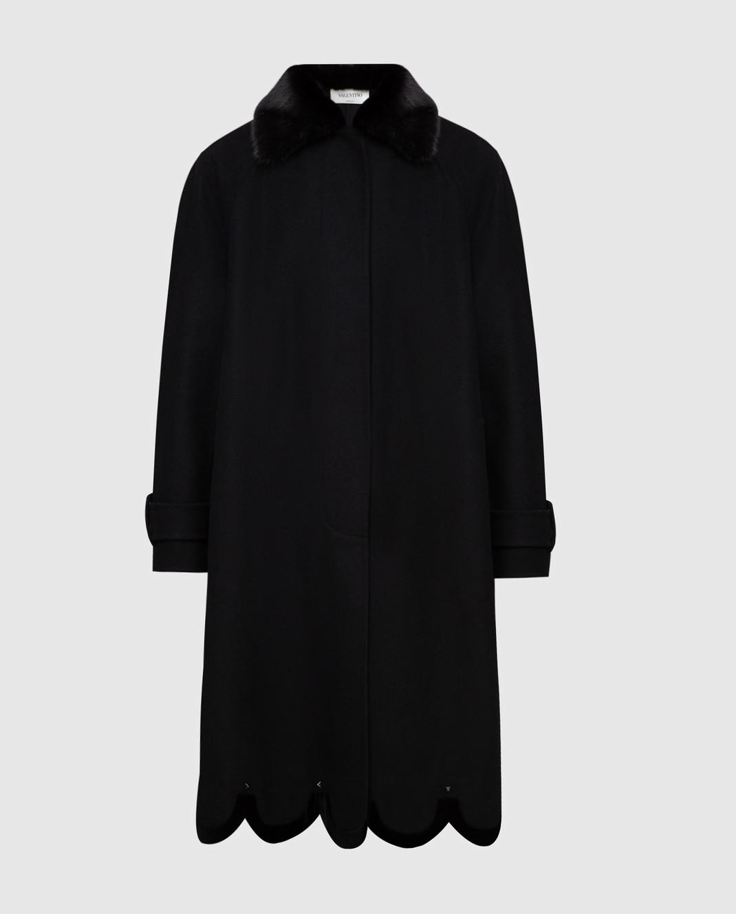 Valentino Черное пальто из шерсти с мехом норки QB3CA2Q51CJ